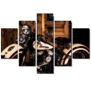 Quadro Painel Mosaico Decorativo 5 Partes Moto