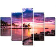 Quadro Painel Mosaico Decorativo 5 Partes Praia Pôr do Sol