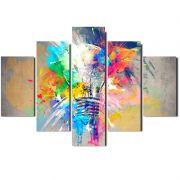Quadro Painel Mosaico Decorativo 5 Pçs Lampada em Aquarela