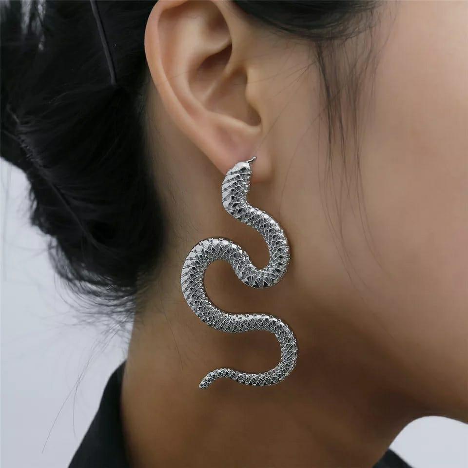 Brinco Feminino Cobra Serpente Prata