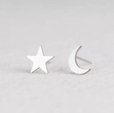 Brinco Feminino Estrela e Lua Prata