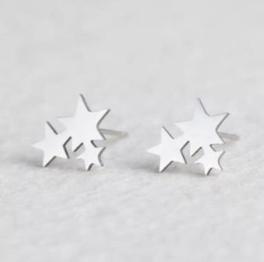 Brinco Feminino Estrelas Prata