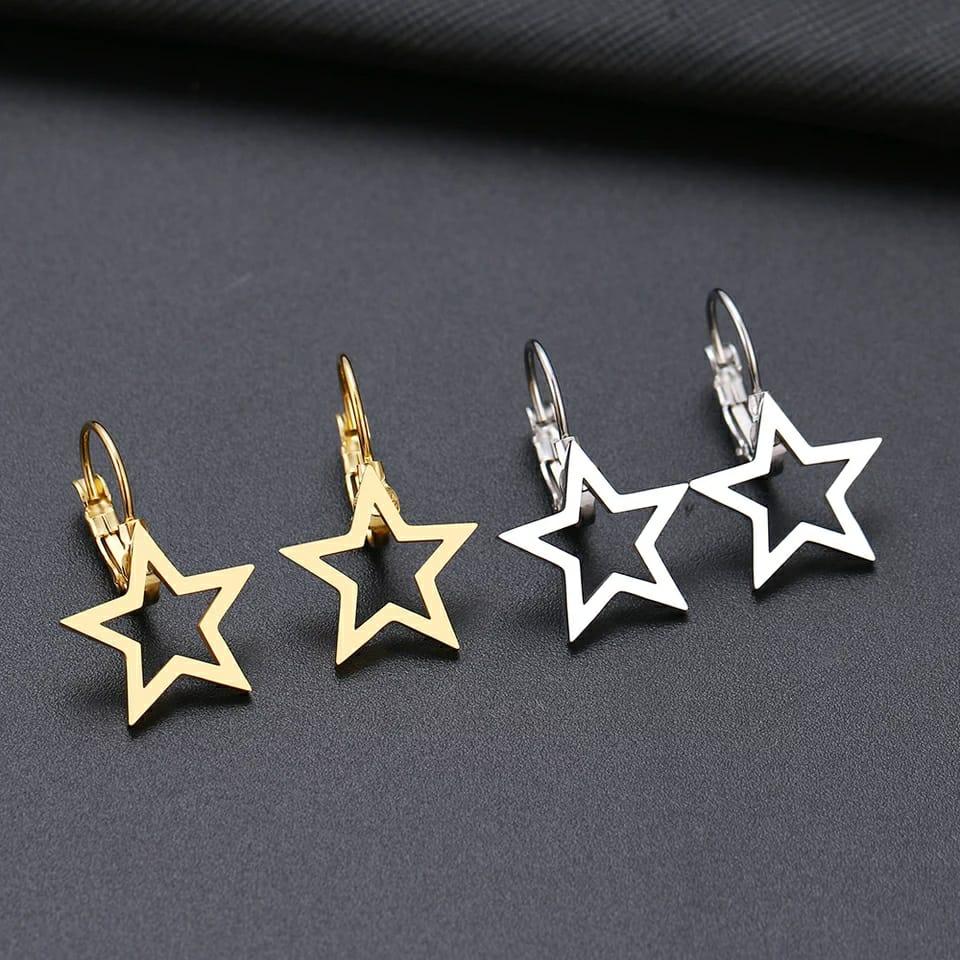 Brinco Feminino Pingente Estrela Dourado
