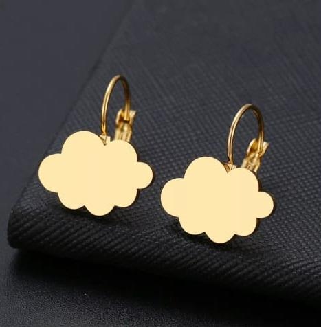 Brinco Feminino Pingente Nuvem Dourado