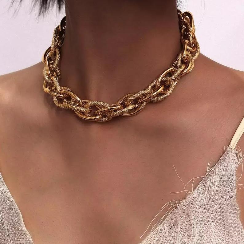 Colar Corrente Feminino Elos Dourados Dourado