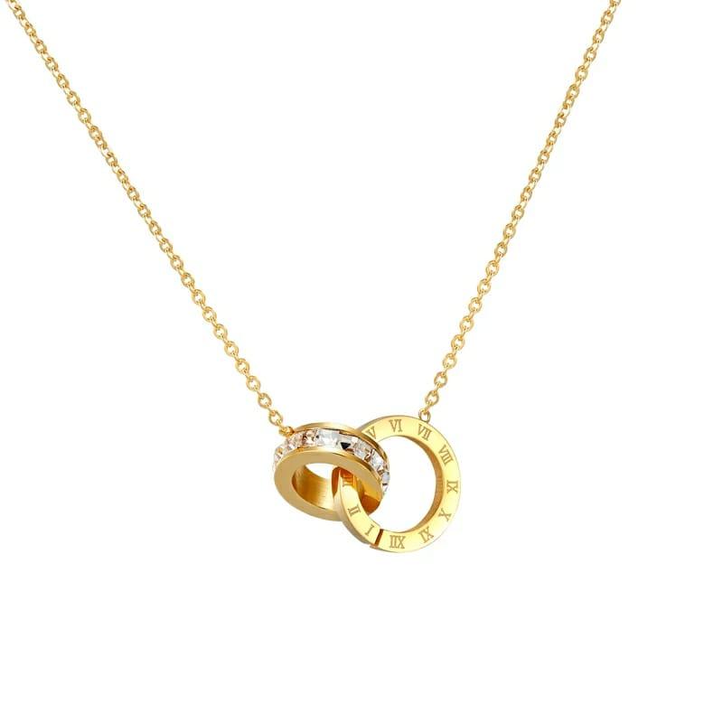 Colar Feminino com Pingente Circulo Romano com Zirconias  Dourado