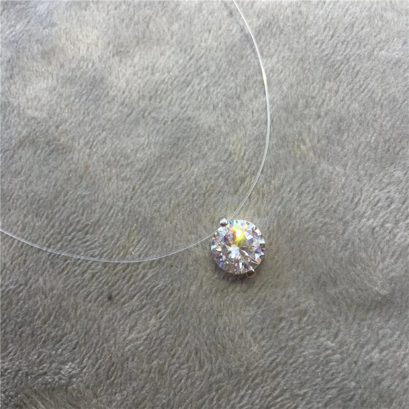 Colar Feminino Pingente Ponto de Luz com Zirconia Branca