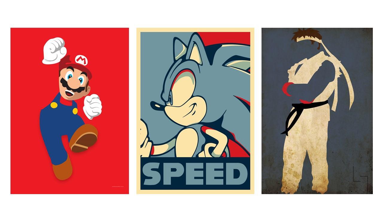 Diorama Kit 3 Placas Poster Minimalista Game Classics