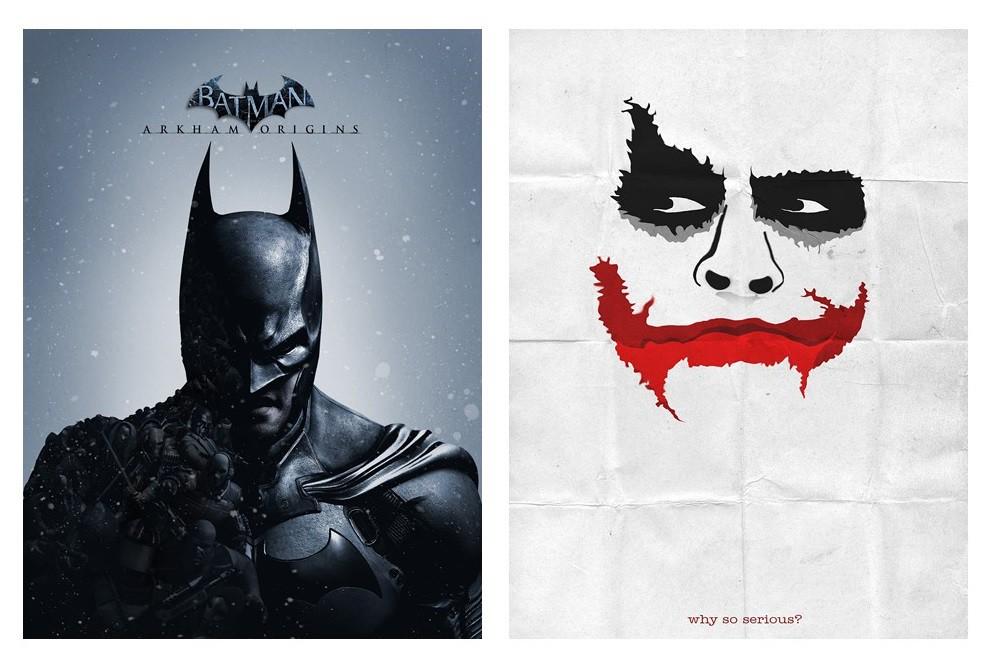 Kit 2 Placas Poster Minimalista Batman Joker
