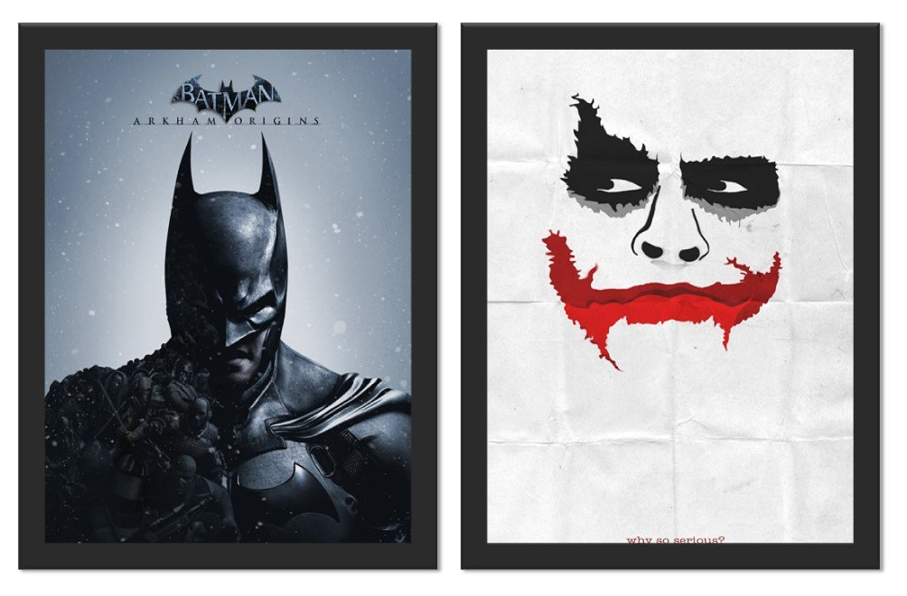 Kit 2 Placas Poster Minimalista Batman Joker