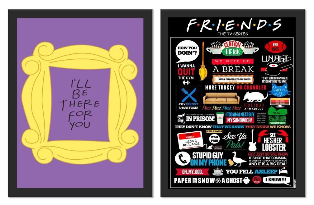 Kit 2 Placas Poster Minimalista Friends