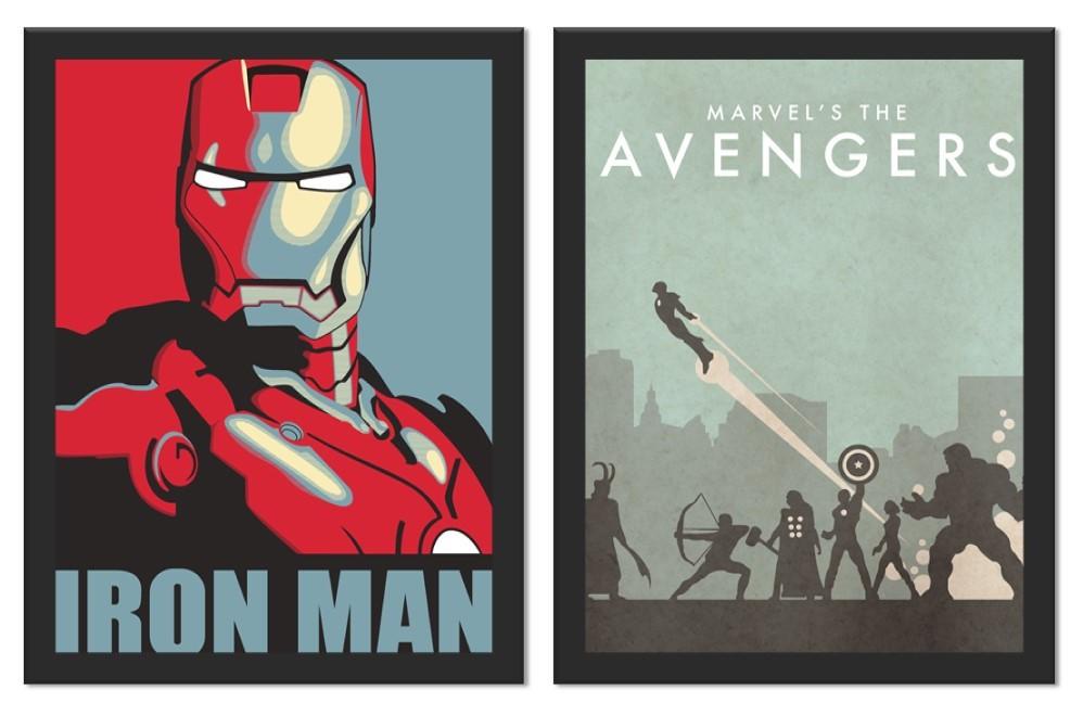 Kit 2 Placas Poster Minimalista Vingadores