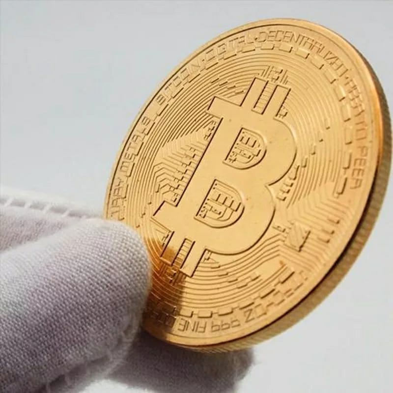 Moeda Bitcoin Criptomoeda Decorativa Gold