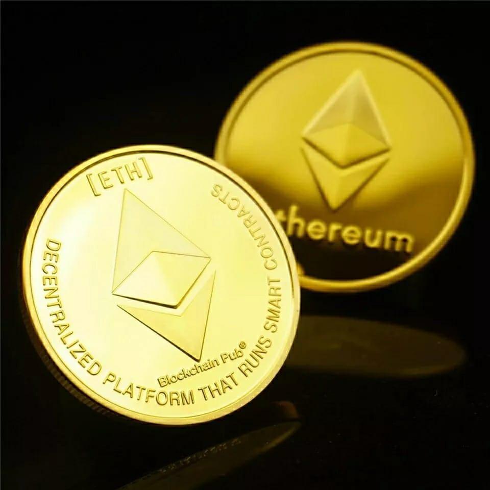 Moeda Ethereum Criptomoeda Decorativa Gold
