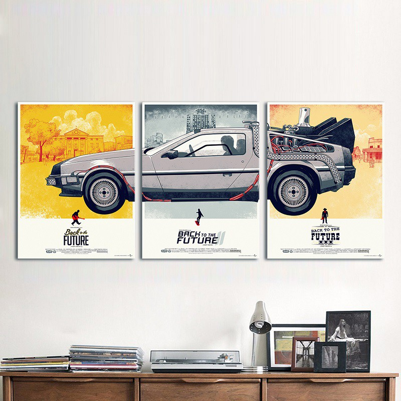 Placa Poster Diorama Back to the Future Kit 3 Peças