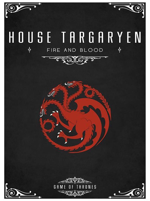 Placa Quadro Poster Minimalista Targaryen Casa