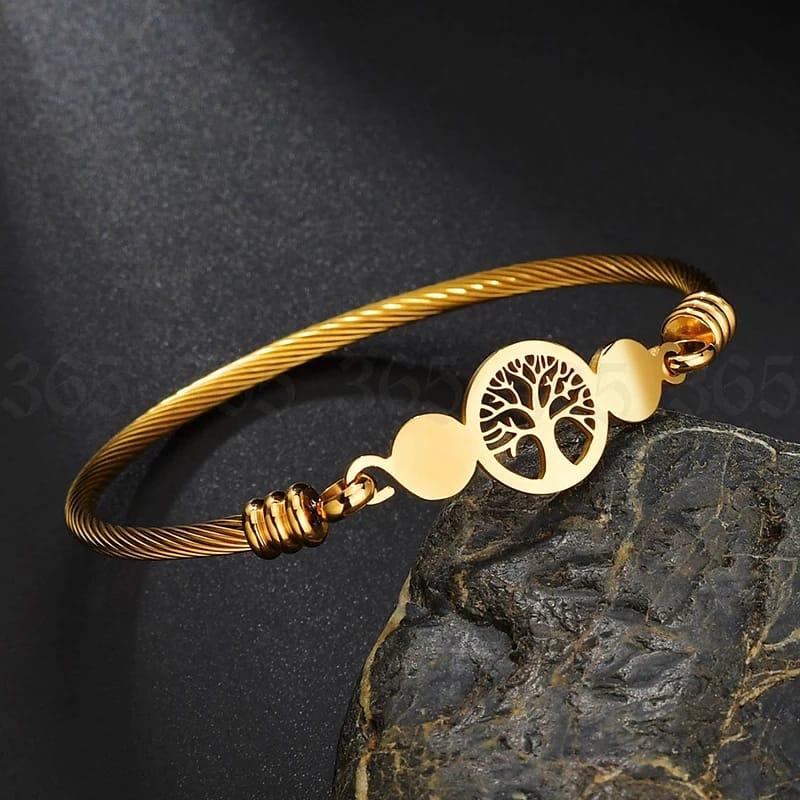 Pulseira Bracelete Arvore da Vida Dourada
