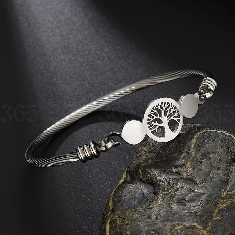 Pulseira Bracelete Arvore da Vida Prata