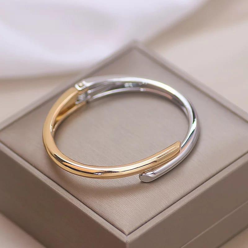 Pulseira Bracelete Dual Colors Prata e Dourado