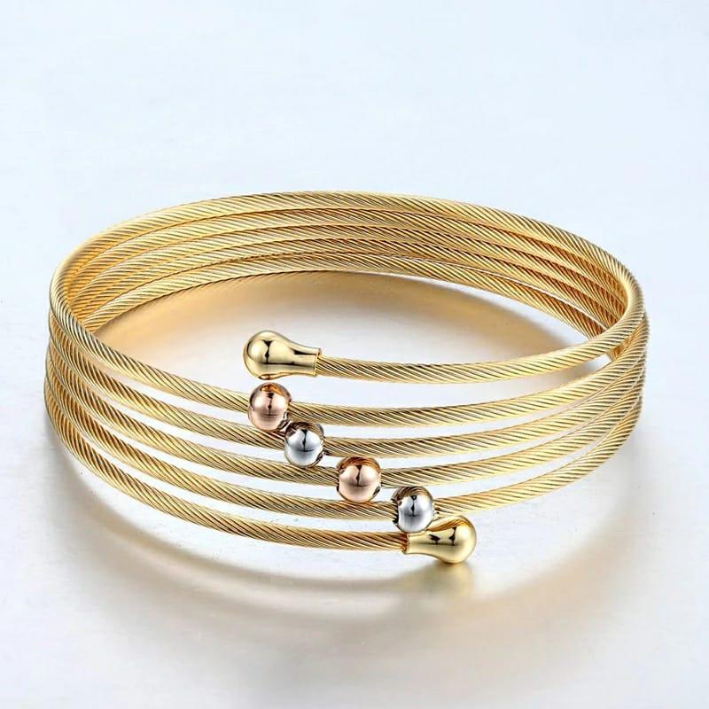 Pulseira Bracelete Torção Malha Dourada