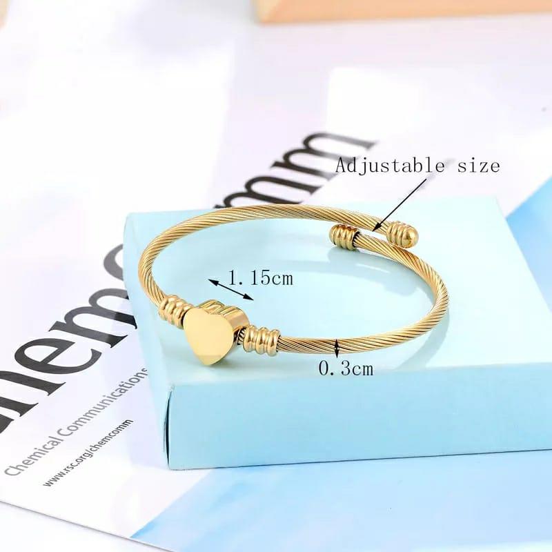 Pulseira Bracelete Trançado Coração Dourado
