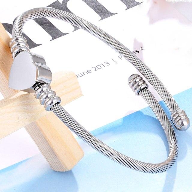 Pulseira Bracelete Trançado Coração Prata
