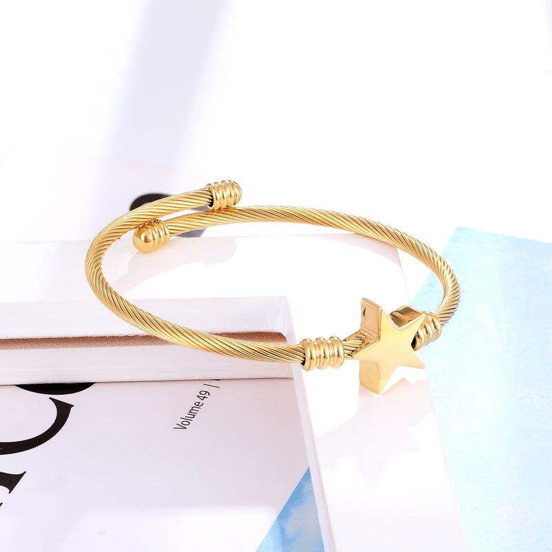Pulseira Bracelete Trançado Estrela Dourado