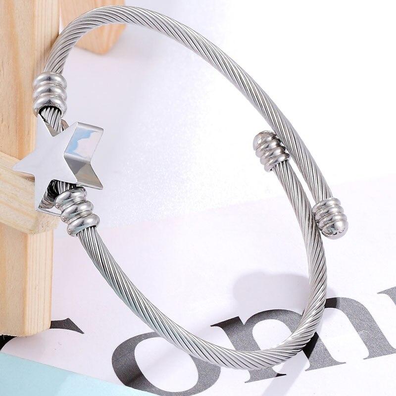 Pulseira Bracelete Trançado Estrela Prata