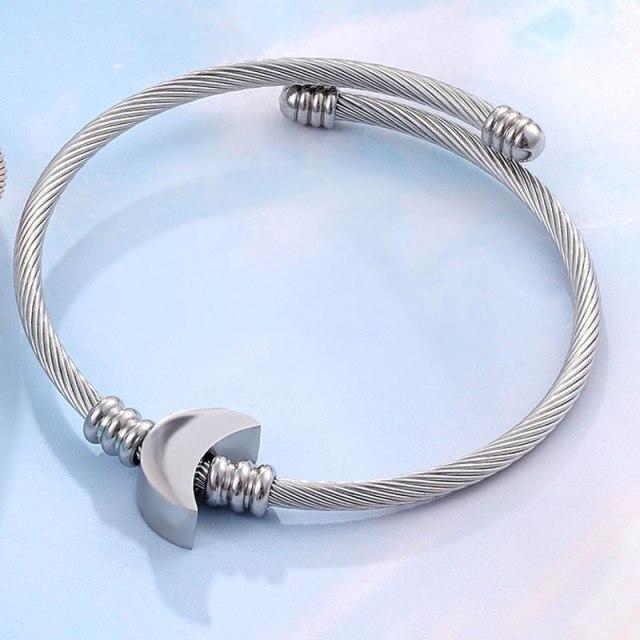 Pulseira Bracelete Trançado Lua Prata