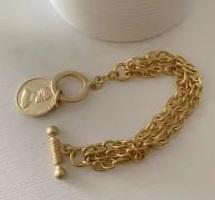 Pulseira Corrente Fosca Pingente Medalha Dourada