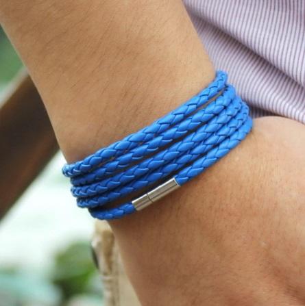 Pulseira de Couro Trançada Masculina com Fecho Magnetico Azul