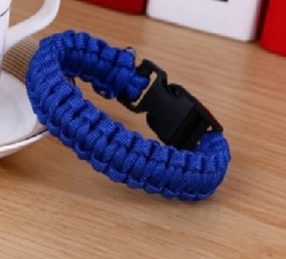 Pulseira Masculina Paracord Trançado Azul