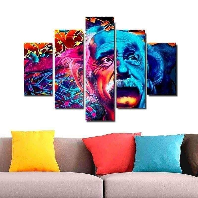 Quadro Painel Mosaico Decorativo 5 Partes Albert Einstein