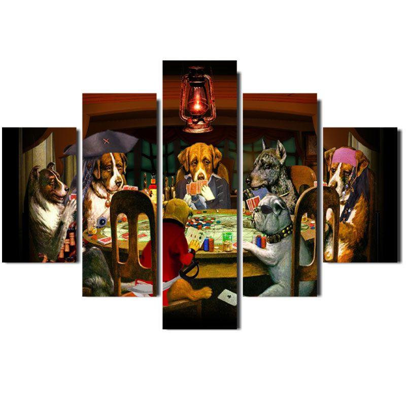 Quadro Painel Mosaico Decorativo 5 Partes Cachorro Poker
