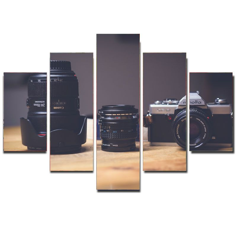 Quadro Painel Mosaico Decorativo 5 Partes Camera Fotografica