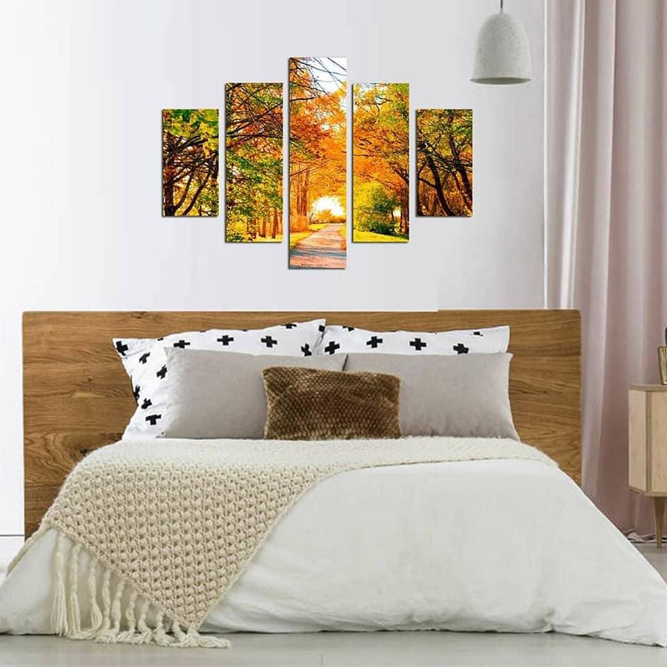 Quadro Painel Mosaico Decorativo 5 Partes Caminho Outono