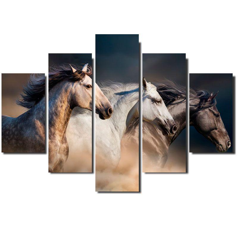 Quadro Painel Mosaico Decorativo 5 Partes Cavalos Selvagens
