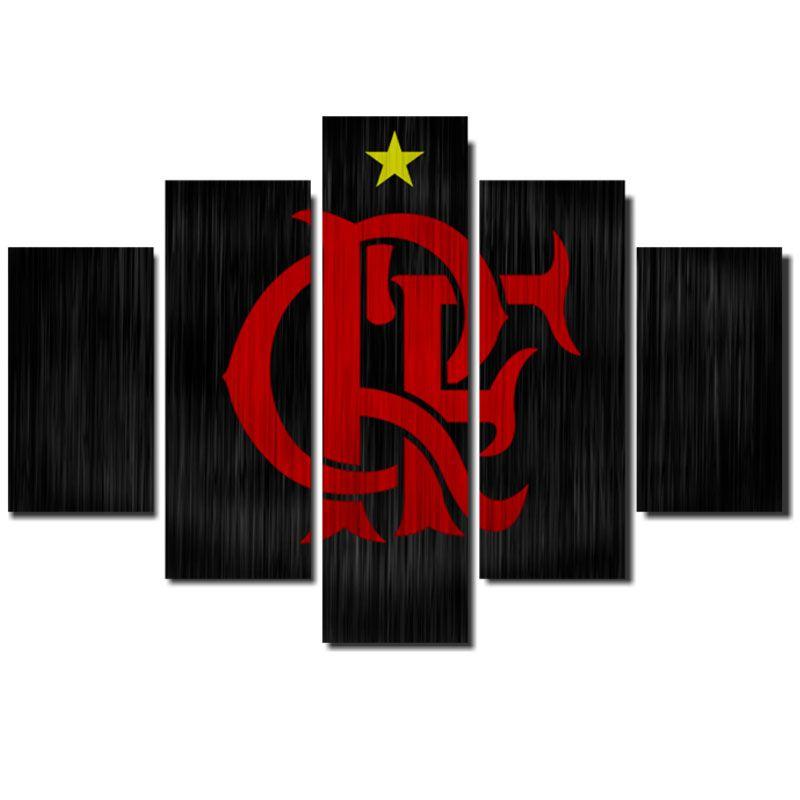 Quadro Painel Mosaico Decorativo 5 Partes Flamengo Aço