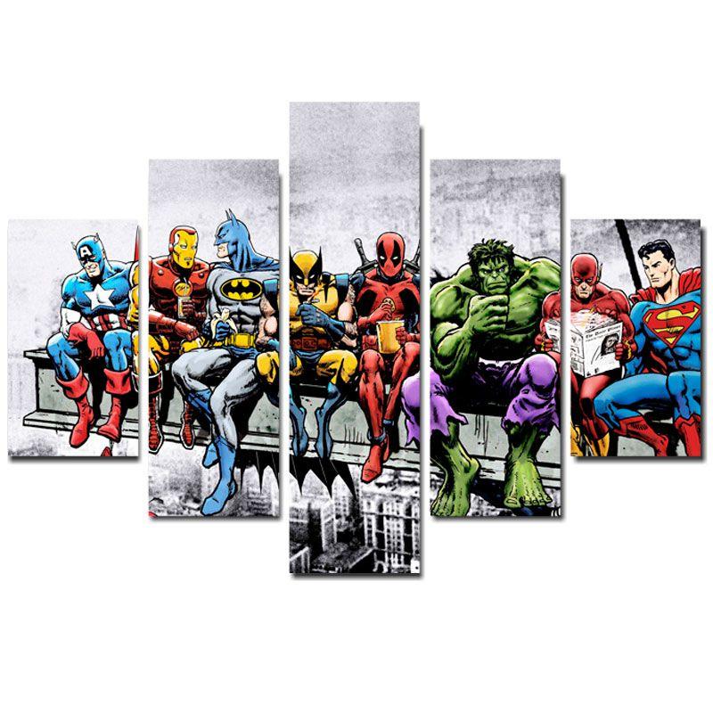 Quadro Painel Mosaico Decorativo 5 Partes Herois