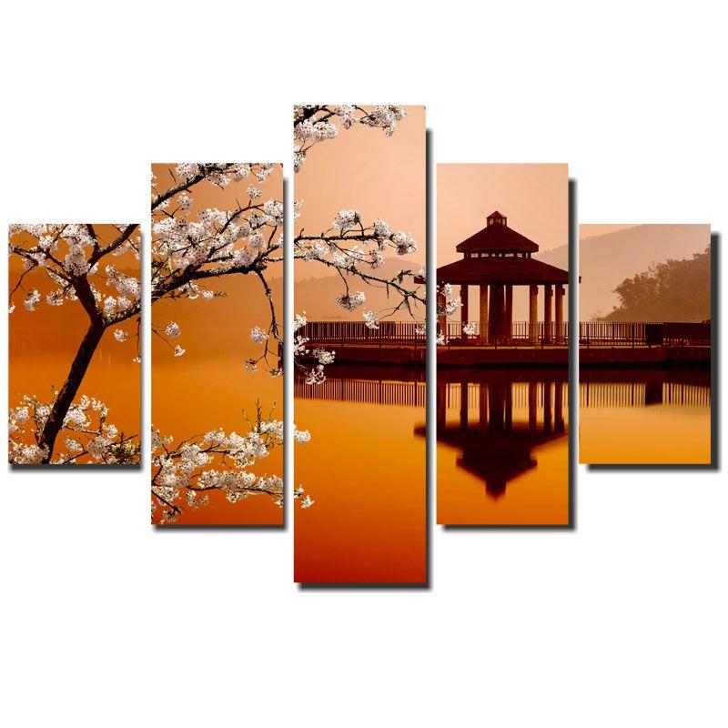 Quadro Painel Mosaico Decorativo 5 Partes Japão Cerejeira