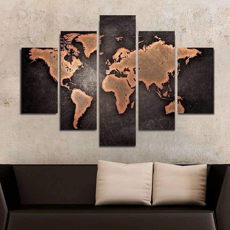 Quadro Painel Mosaico Decorativo 5 Partes Mapa