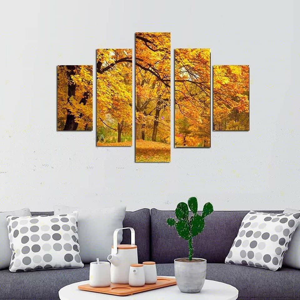 Quadro Painel Mosaico Decorativo 5 Partes Outono
