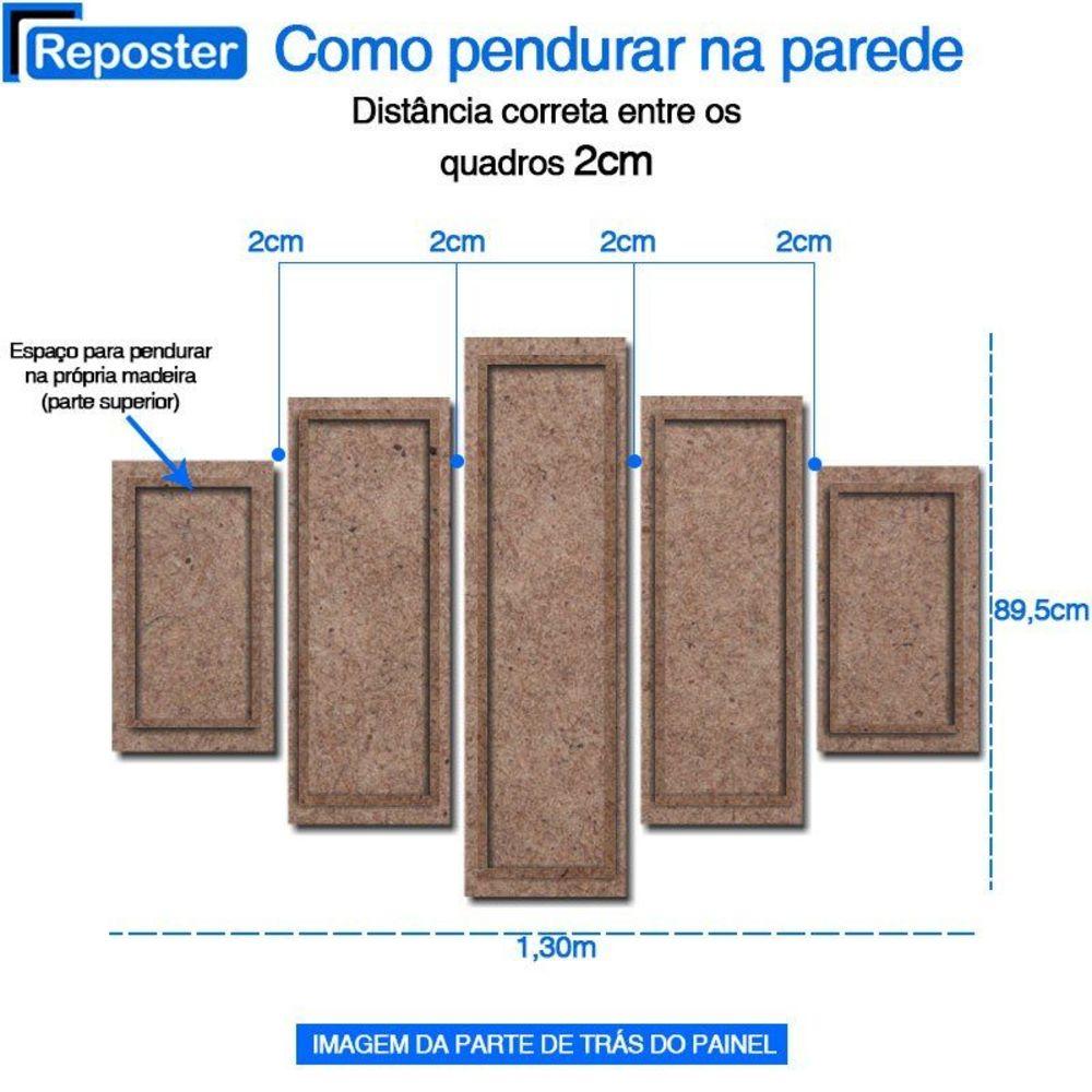 Quadro Painel Mosaico Decorativo 5 Partes Palmeiras