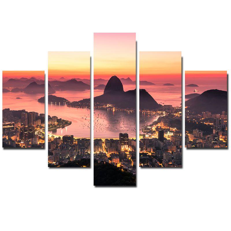 Quadro Painel Mosaico Decorativo  5 Partes Rio de Janeiro