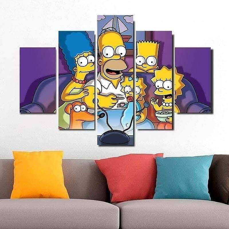 Quadro Painel Mosaico Decorativo 5 Partes Simpsons TV