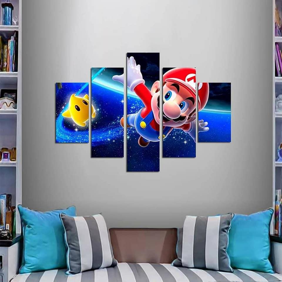 Quadro Painel Mosaico Decorativo 5 Partes Super Mario World
