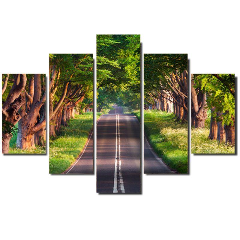 Quadro Painel Mosaico Decorativo 5 Partes The Road (Estrada)