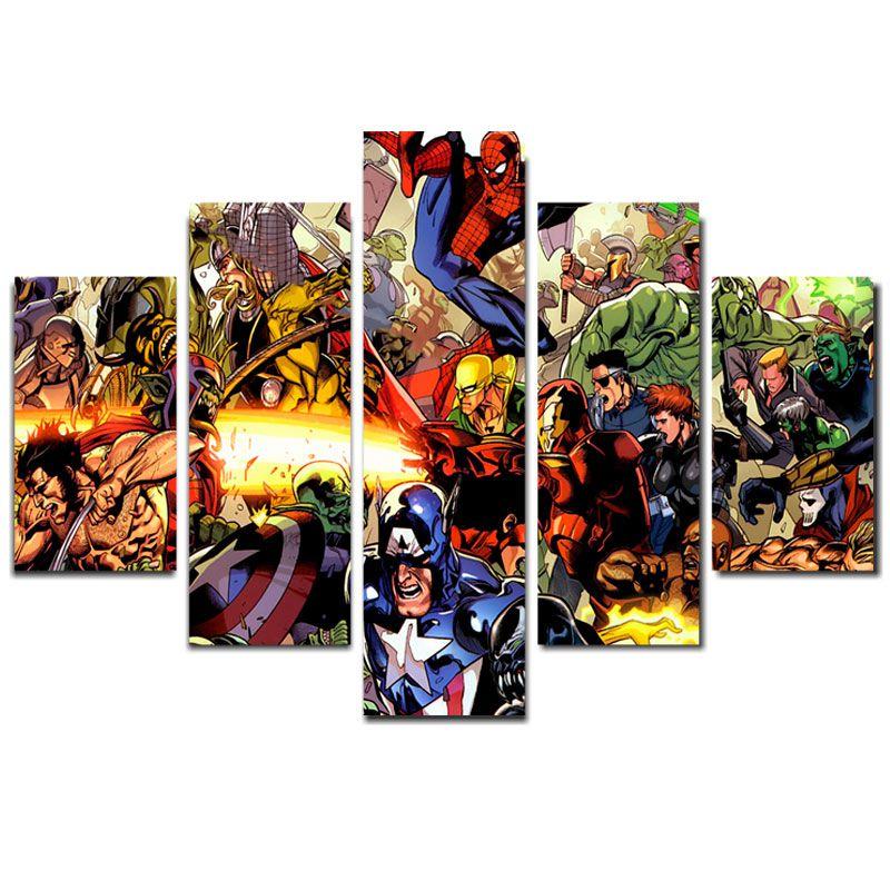 Quadro Painel Mosaico Decorativo 5 Partes Vingadores Comics