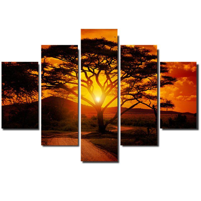 Quadro Painel Mosaico Decorativo 5 Pçs Africa Por do Sol