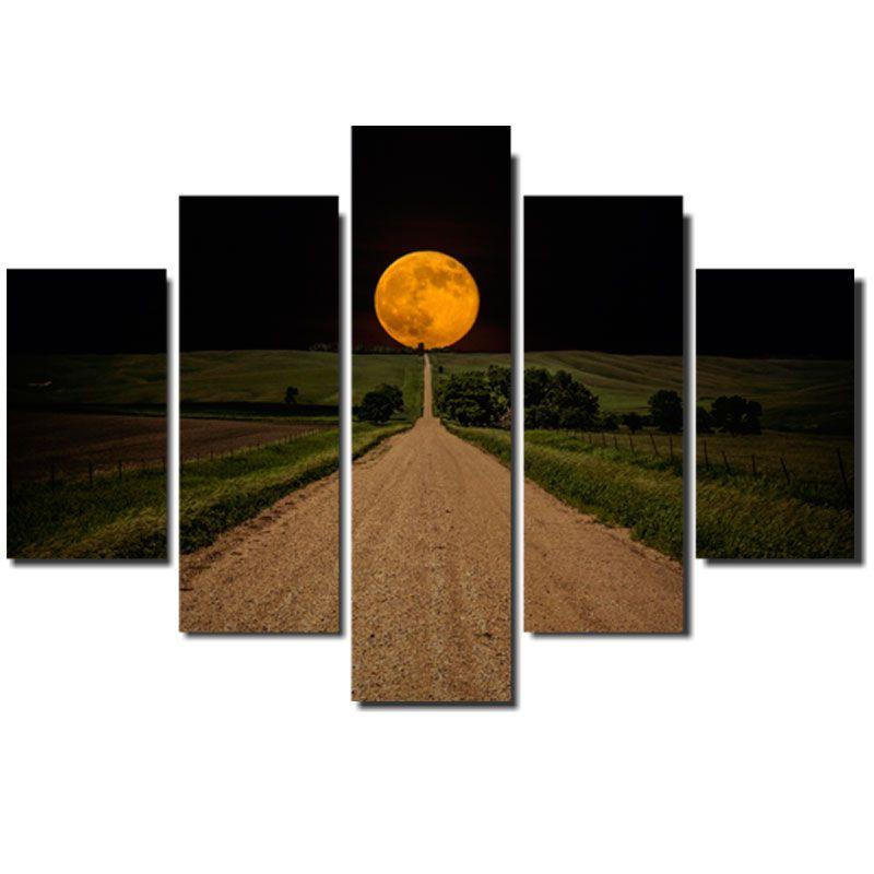 Quadro Painel Mosaico Decorativo 5 Pçs Caminho para a Lua